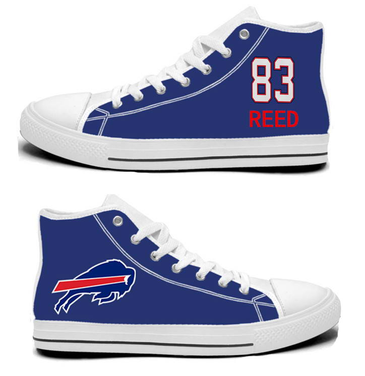 NFL Buffalo Bills 83#  Andre Reed  Royal Blue Hand Painted Unisex Custom Centre-TOP Canvas Shoes