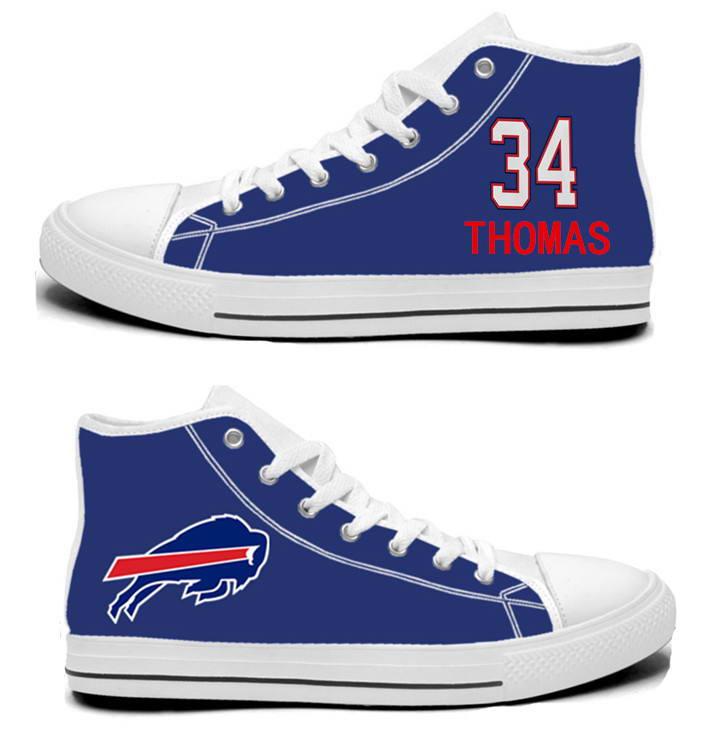 NFL Buffalo Bills 34# Thurman Thomas  Royal Blue Hand Painted Unisex Custom Centre-TOP Canvas Shoes