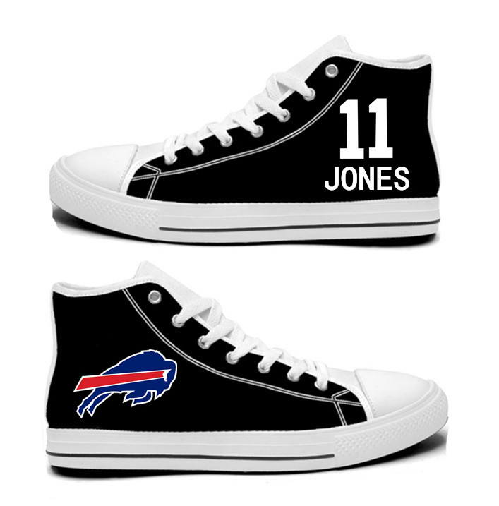 NFL Buffalo Bills 11#  Zay Jones black Hand Painted Unisex Custom Centre-TOP Canvas Shoes