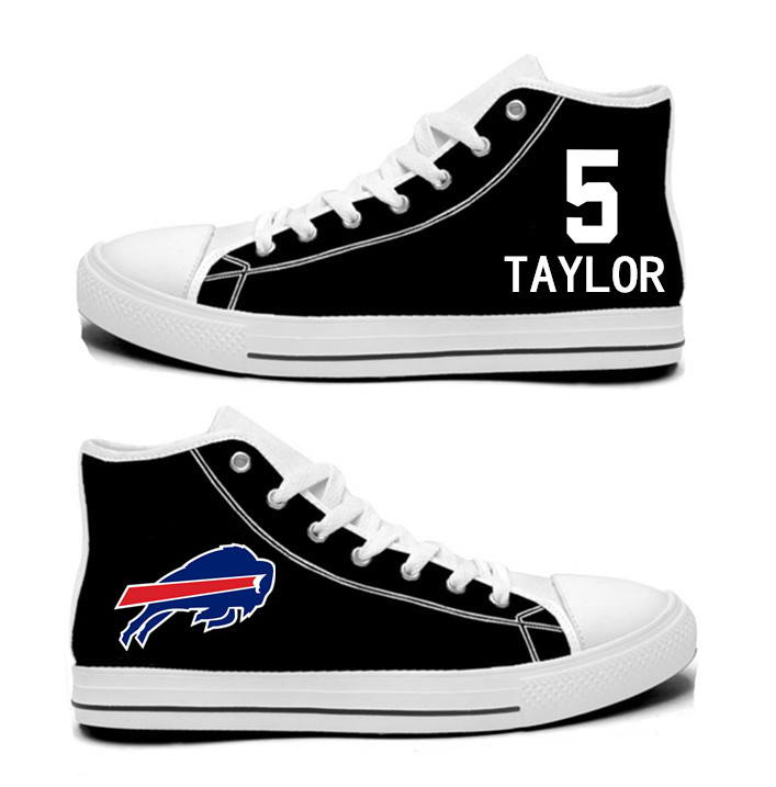 NFL Buffalo Bills 5#  Tyrod Taylor  black Hand Painted Unisex Custom Centre-TOP Canvas Shoes
