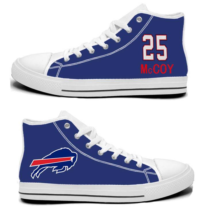 NFL Buffalo Bills 25# LeSean McCoy Royal Blue Hand Painted Unisex Custom Centre-TOP Canvas Shoes