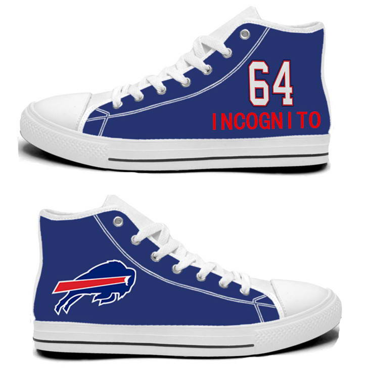 NFL Buffalo Bills 64#  Richie Incognito  Royal Blue Hand Painted Unisex Custom Centre-TOP Canvas Shoes