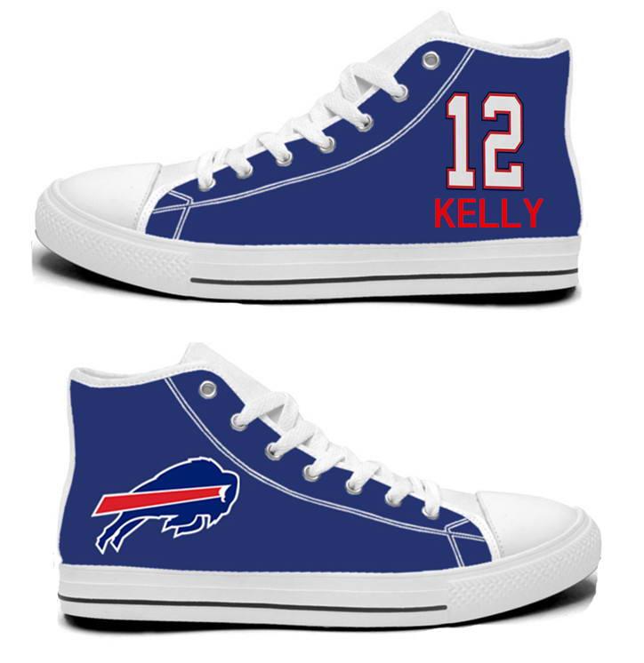 NFL Buffalo Bills 12# Jim Kelly Royal Blue Hand Painted Unisex Custom Centre-TOP Canvas Shoes