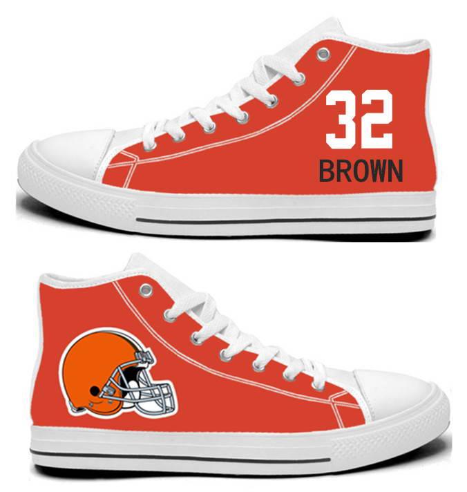NFL Cleveland Browns 32#   Jim Brown orange Hand Painted Unisex Custom Centre-TOP Canvas Shoes