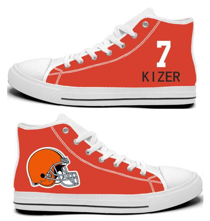 NFL Cleveland Browns 7#   DeShone Kizer  orange Hand Painted Unisex Custom Centre-TOP Canvas Shoes
