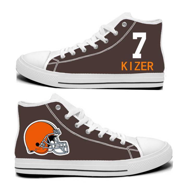 NFL Cleveland Browns 7#   DeShone Kizer  Brown Hand Painted Unisex Custom Centre-TOP Canvas Shoes
