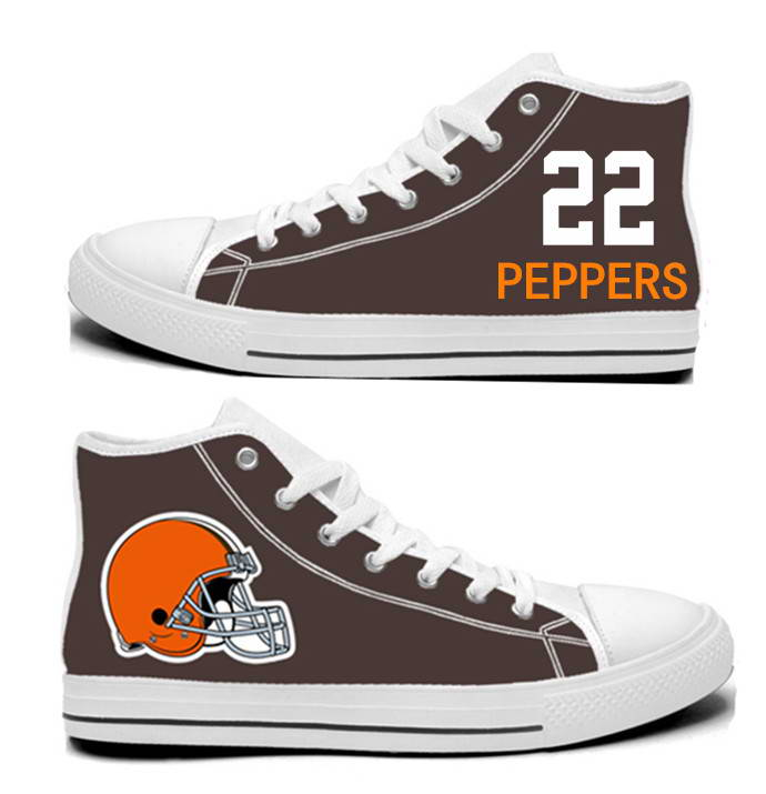 NFL Cleveland Browns 22# Jabrill Peppers  Brown Hand Painted Unisex Custom Centre-TOP Canvas Shoes
