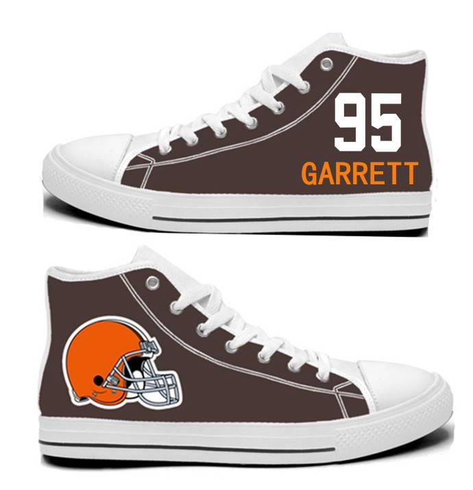 NFL Cleveland Browns 95#  Myles Garrett Brown Hand Painted Unisex Custom Centre-TOP Canvas Shoes