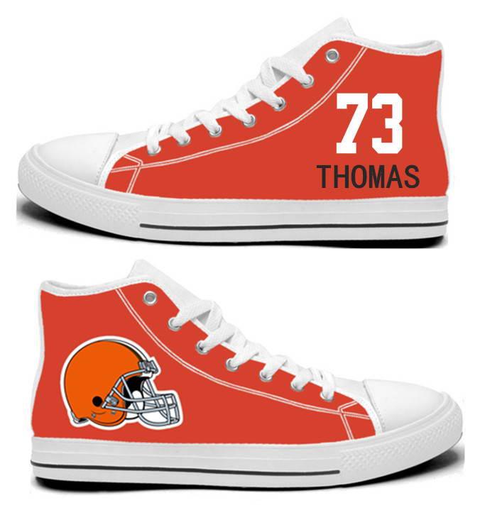 NFL Cleveland Browns 73# Joe Thomas ornge Hand Painted Unisex Custom Centre-TOP Canvas Shoes
