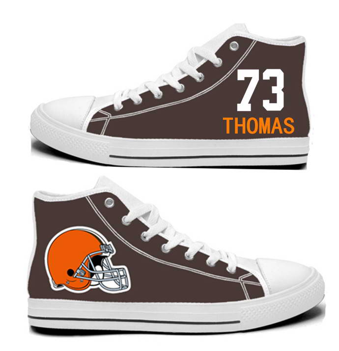 NFL Cleveland Browns 73# Joe Thomas  Brown Hand Painted Unisex Custom Centre-TOP Canvas Shoes