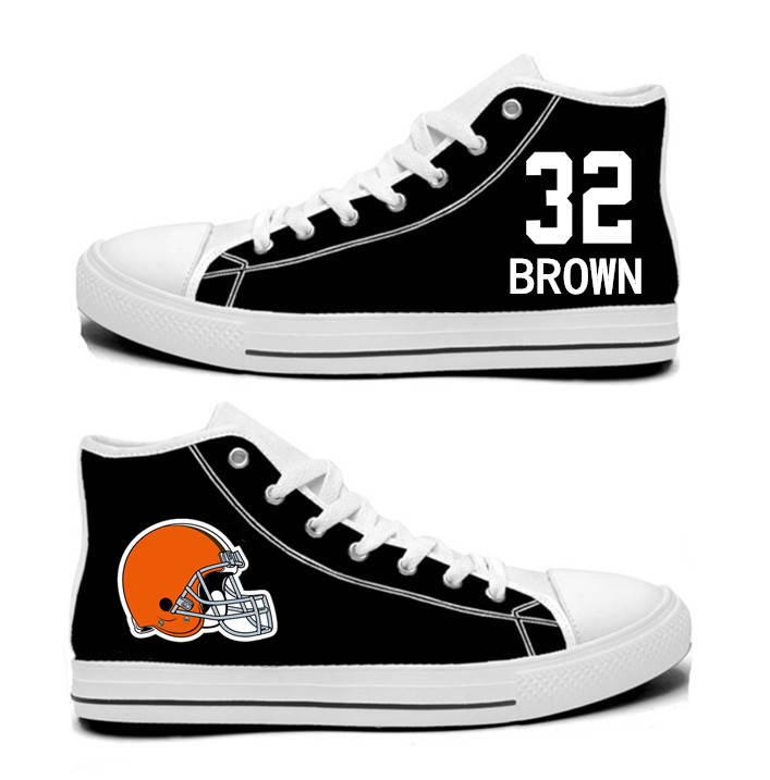 NFL Cleveland Browns 32#   Jim Brown black Hand Painted Unisex Custom Centre-TOP Canvas Shoes