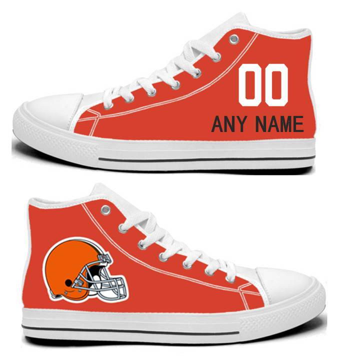 NFL Cleveland Browns orange Hand Painted Unisex Custom Centre-TOP Canvas Shoes