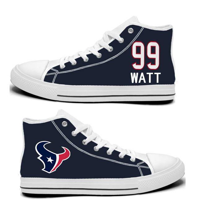 NFL Houston Texans 99# Texans JJ Watt Navy Hand Painted Unisex Custom Centre-TOP Canvas Shoes