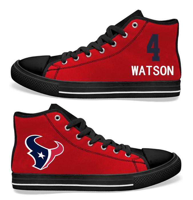 NFL Houston Texans 4# Deshaun Watson red Hand Painted Unisex Custom Centre-TOP Canvas Shoes