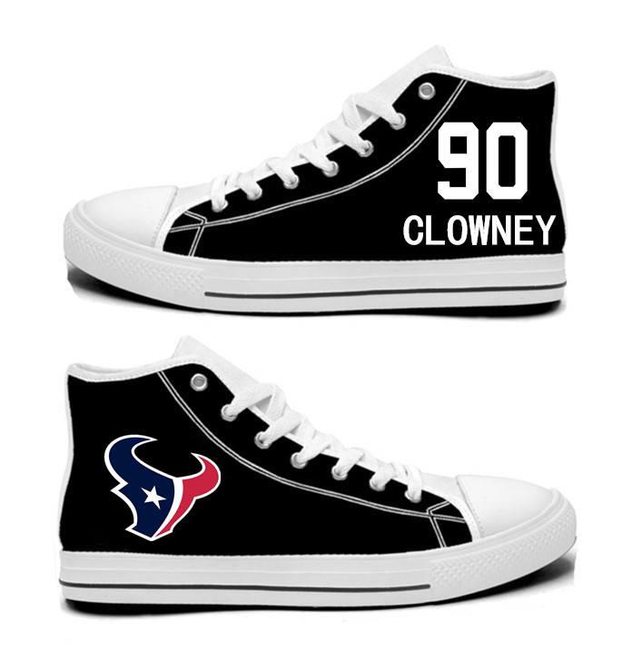 NFL Houston Texans 90#  Jadeveon Clowney   black Hand Painted Unisex Custom Centre-TOP Canvas Shoes
