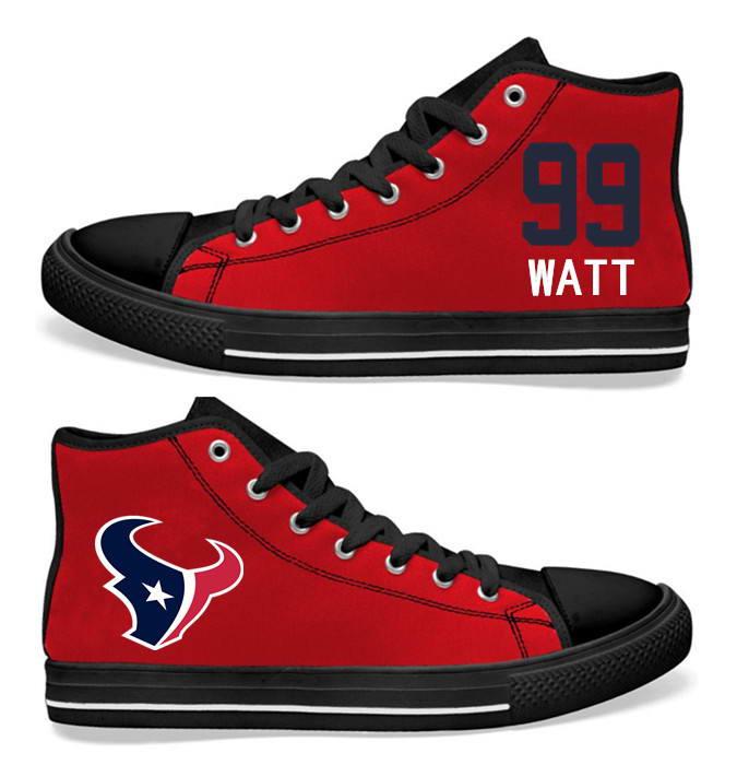 NFL Houston Texans 99# Texans JJ Watt red Hand Painted Unisex Custom Centre-TOP Canvas Shoes