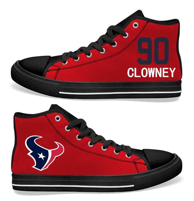 NFL Houston Texans 90#  Jadeveon Clowney   red Hand Painted Unisex Custom Centre-TOP Canvas Shoes
