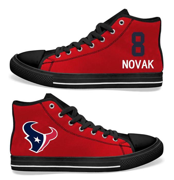 NFL Houston Texans 8#  Matt Schaub  red Hand Painted Unisex Custom Centre-TOP Canvas Shoes