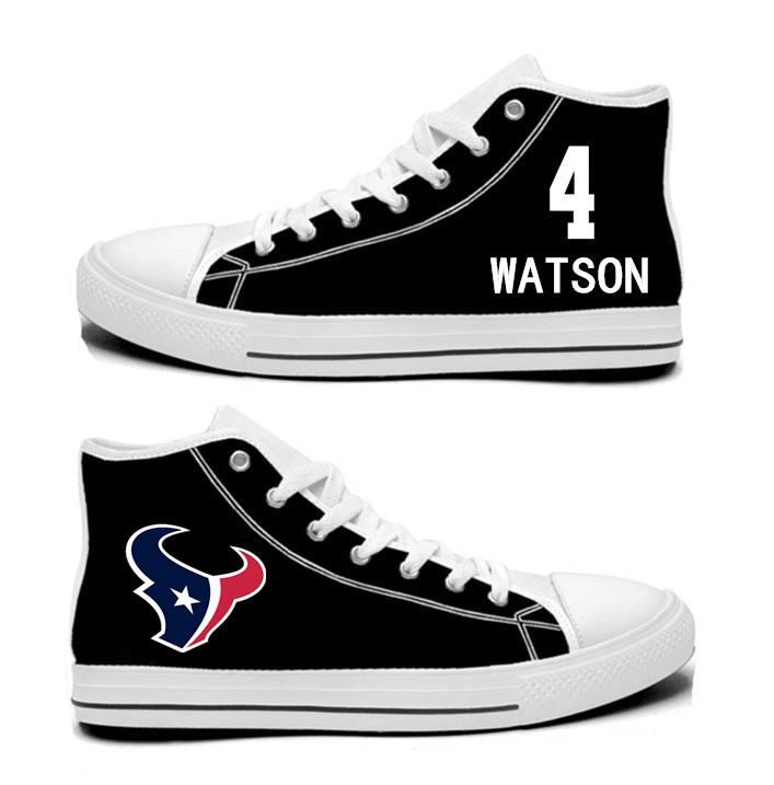 NFL Houston Texans 4# Deshaun Watson black Hand Painted Unisex Custom Centre-TOP Canvas Shoes