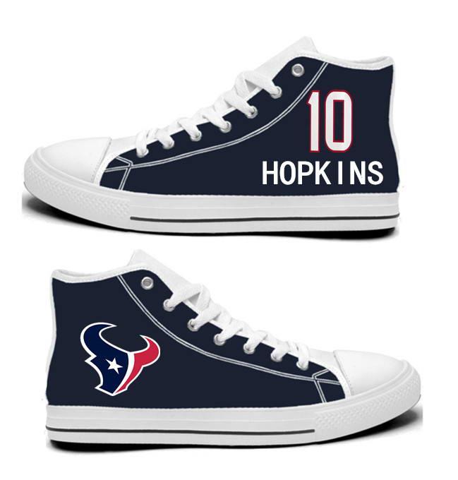 NFL Houston Texans 10#  DeAndre Hopkins  Navy Hand Painted Unisex Custom Centre-TOP Canvas Shoes