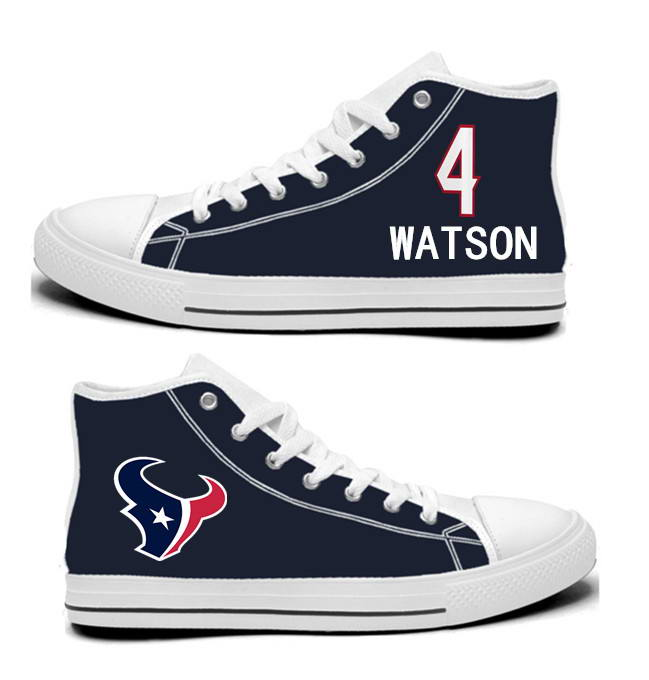 NFL Houston Texans 4# Deshaun Watson Navy Hand Painted Unisex Custom Centre-TOP Canvas Shoes