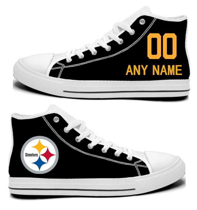 NFL Pittsburgh Steelers Black Custom Hand Painted Unisex Custom Centre-TOP Canvas Shoes