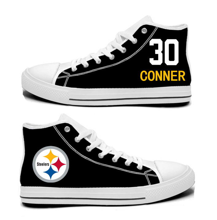 NFL Pittsburgh Steelers 30#  James Conner Black white Hand Painted Unisex Custom Centre-TOP Canvas Shoes