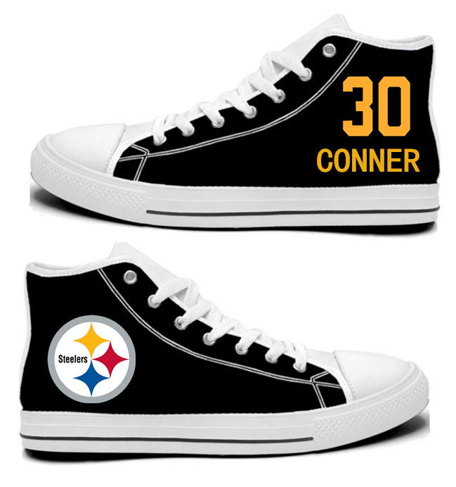 NFL Pittsburgh Steelers 30#  James Conner Black Hand Painted Unisex Custom Centre-TOP Canvas Shoes