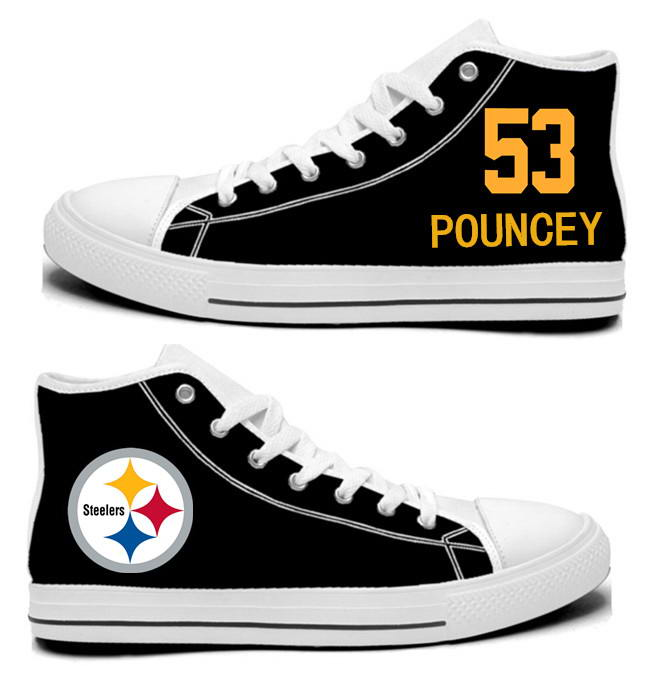 NFL Pittsburgh Steelers 53#  Maurkice Pouncey  Black Hand Painted Unisex Custom Centre-TOP Canvas Shoes