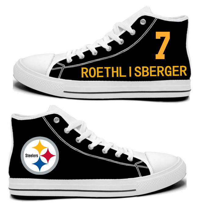 NFL Pittsburgh Steelers 7#  Ben Roethlisberger Black Hand Painted Unisex Custom Centre-TOP Canvas Shoes