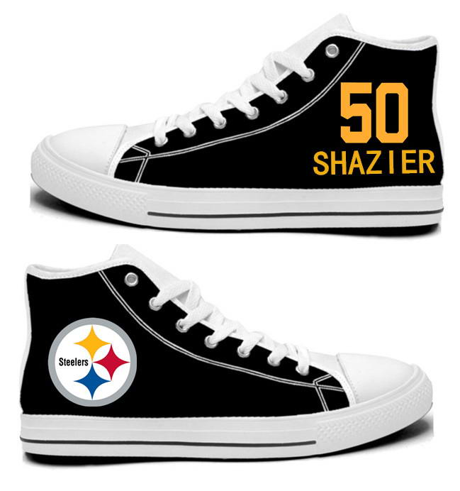 NFL Pittsburgh Steelers 50#  Ryan Shazier  Black Hand Painted Unisex Custom Centre-TOP Canvas Shoes