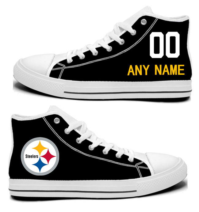 NFL Pittsburgh Steelers Black white Custom Hand Painted Unisex Custom Centre-TOP Canvas Shoes