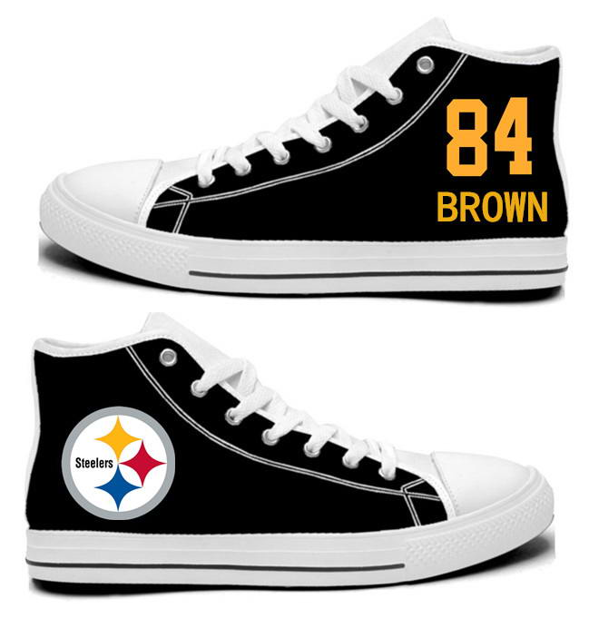 NFL Pittsburgh Steelers 84# Antonio Brown Black Hand Painted Unisex Custom Centre-TOP Canvas Shoes