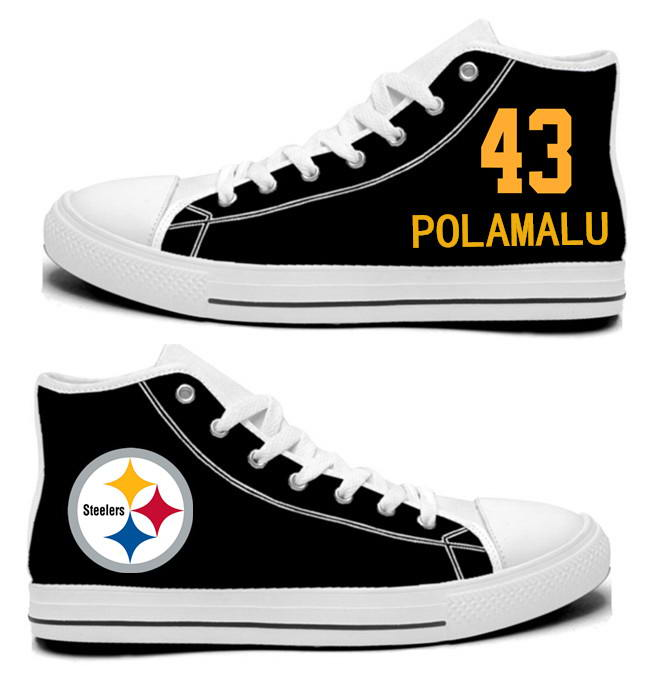 NFL Pittsburgh Steelers 43#  Troy Polamalu  Black Hand Painted Unisex Custom Centre-TOP Canvas Shoes