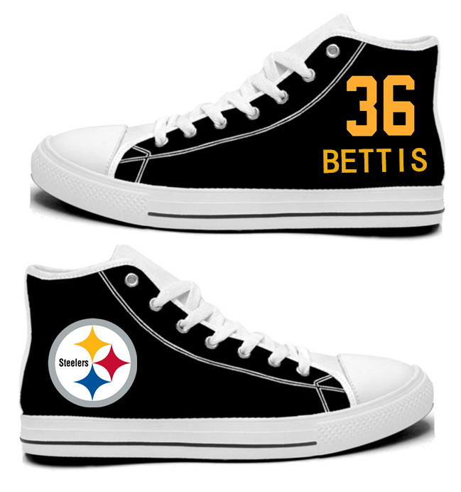 NFL Pittsburgh Steelers 36# Jerome Bettis Black Hand Painted Unisex Custom Centre-TOP Canvas Shoes