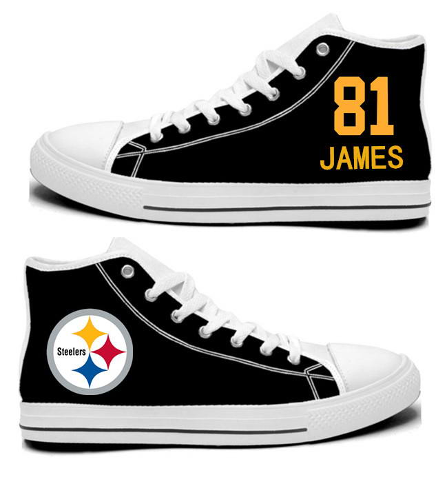 NFL Pittsburgh Steelers 81#  Jesse James Black Hand Painted Unisex Custom Centre-TOP Canvas Shoes