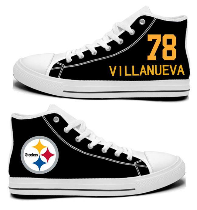 NFL Pittsburgh Steelers 78#  Alejandro Villanueva Black Hand Painted Unisex Custom Centre-TOP Canvas Shoes