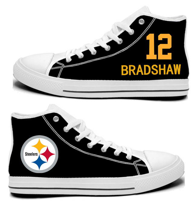 NFL Pittsburgh Steelers 12# Terry Bradshaw Black Hand Painted Unisex Custom Centre-TOP Canvas Shoes