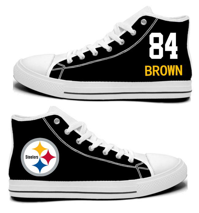 NFL Pittsburgh Steelers 84# Antonio Brown Black  white Hand Painted Unisex Custom Centre-TOP Canvas Shoes