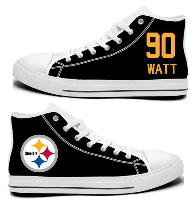 NFL Pittsburgh Steelers 90#   T.J. Watt  Black Hand Painted Unisex Custom Centre-TOP Canvas Shoes