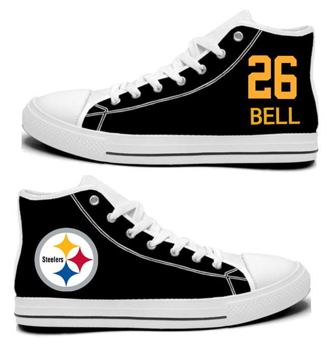 NFL Pittsburgh Steelers 26#  Le'Veon Bell Black Hand Painted Unisex Custom Centre-TOP Canvas Shoes