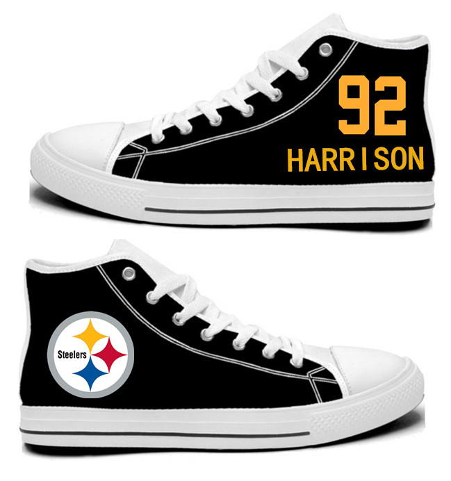 NFL Pittsburgh Steelers 92# James Harrison Black Hand Painted Unisex Custom Centre-TOP Canvas Shoes