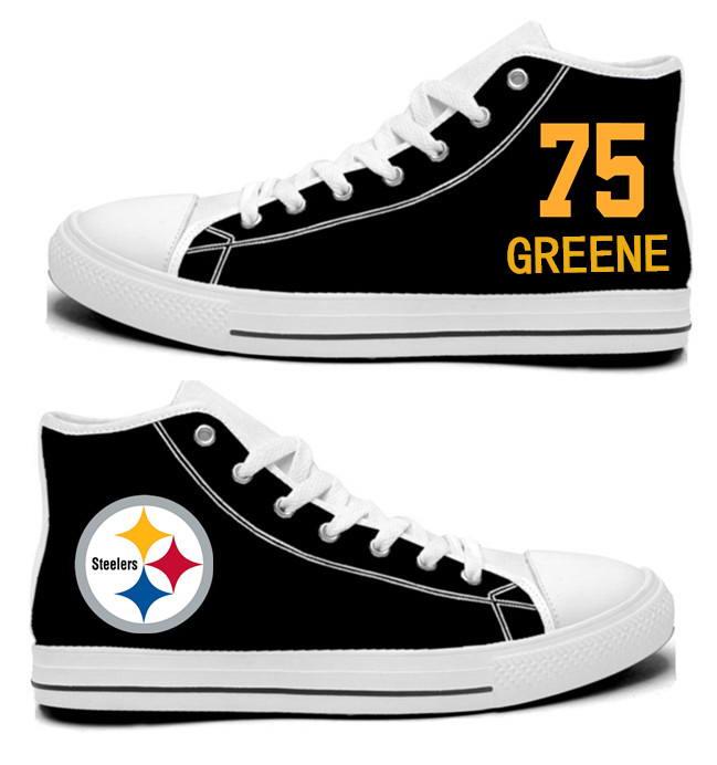NFL Pittsburgh Steelers 75#  Joe Greene Black Hand Painted Unisex Custom Centre-TOP Canvas Shoes