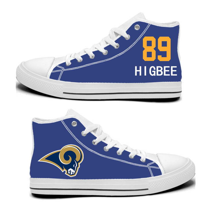 NFL Los Angeles Rams 89# Tyler Higbee blue Hand Painted Unisex Custom Centre-TOP Canvas Shoes