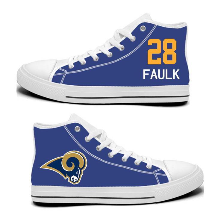 NFL Los Angeles Rams 28# Marshall Faulk blue Hand Painted Unisex Custom Centre-TOP Canvas Shoes