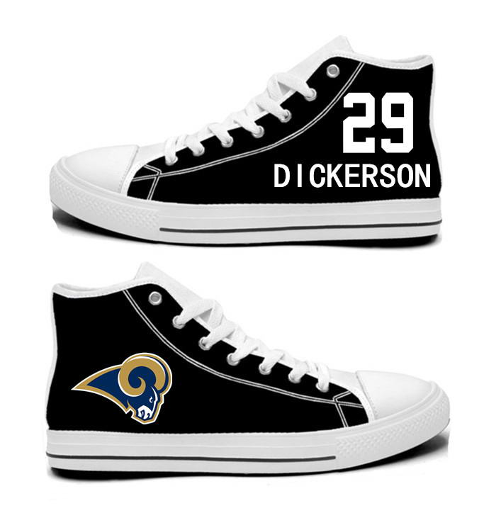 NFL Los Angeles Rams 29# Eric Dickerson black Hand Painted Unisex Custom Centre-TOP Canvas Shoes