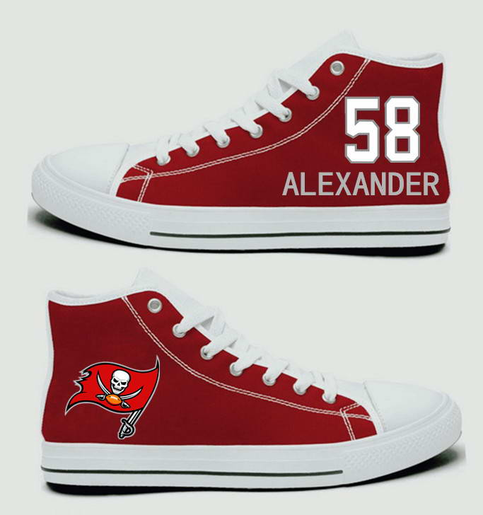NFL Tampa Bay Buccaneers 58# Kwon Alexander white Red  Hand Painted Unisex Custom Centre-TOP Canvas Shoes
