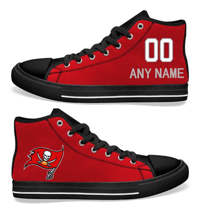 NFL Tampa Bay Buccaneers Red  Hand Painted Unisex Custom Centre-TOP Canvas Shoes