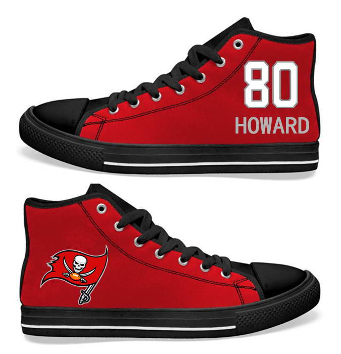 NFL Tampa Bay Buccaneers 80# O.J. Howard Red  Hand Painted Unisex Custom Centre-TOP Canvas Shoes