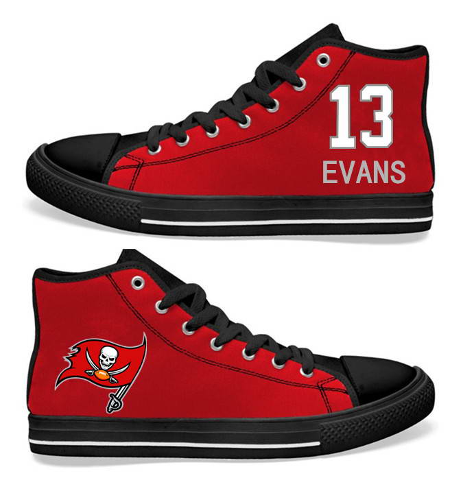 NFL Tampa Bay Buccaneers 13# Mike Evans  Red  Hand Painted Unisex Custom Centre-TOP Canvas Shoes